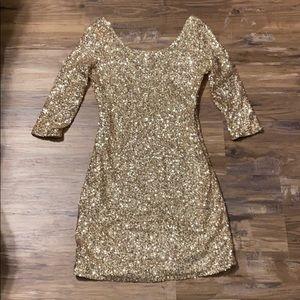 GOLD SEQUIN mini party dress